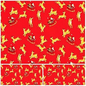 Polycotton Fabric Craft RED FATHER CHRISTMAS & RUDOLPH XMAS Metre Material