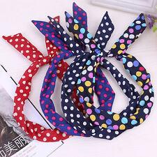 2017 Trendy Lady Girl Hair Band Headband Ribbon Rabbit Bunny Ear Scarf Bow Tie
