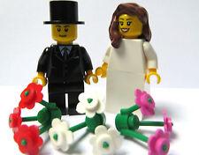 Lego Wedding Minifigures Figure  Bride Brown Wavy 3 Flowers  & Groom
