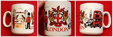 Churchill England London Coffee Mug Cup Griffin Crest Double Decker Bus Big Ben
