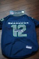 "NWT Pets First NFL Seattle Seahawks Pet Wear Team Jersey L 20"" -24"" Navy"