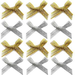 Small 3cm Wide Pre-Tied Bows Made From 7mm Lurex Metallic Ribbon Wedding Craft