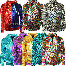WOMEN MERMAID JACKET FISH SCALE METALLIC HOLOGRAPHIC GEOMETRIC STRETCH FESTIVAL