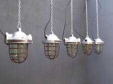 Original Vintage Industrial Glazed Factory Caged Pendant Lights; 4 Available