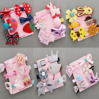 6Pcs Kids Toddler Hairpin Baby Girls Hair Clip Bow Cartoon Animal Hairpin Set