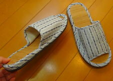 Japanese Bamboo Slippers Cool Comfortable Room Shoes White Stripe Size9.5