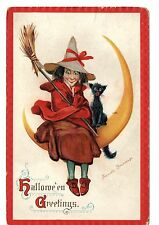 VINTAGE ANTIQUE HALLOWEEN POSTCARD FRANCES BRUNDAGE  WITCH CAT MOON  OCT 31 1924