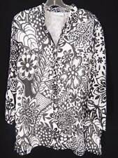 Alfred Dunner Top Sz 14 White & Black Floral Gauze Double Layer Button Up Shirt