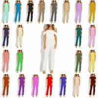WASOSJ Women Ladies Off-Shoulder Adjustable Strap Jumpsuit Bardot Playsuit Dress
