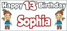 Girl Pirate 13th Birthday Banner x 2 - Party Decorations - Personalised ANY NAME