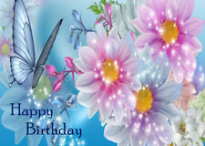FEMALE LADIES HAPPY BIRTHDAY GREETINGS CARD BEAUTIFUL FLOWERS & BUTTERFLY