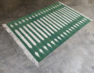 Handwoven Yoga Rug 4'x6' Green & White Reversible Cotton Durrie Flat Weave Kilim
