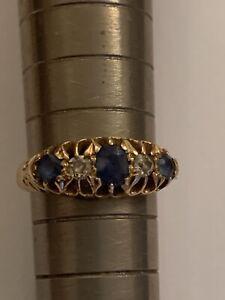 Fine Quality Edwardian  18ct Gold Sapphire & Diamond Set Ring - Birmingham 1911