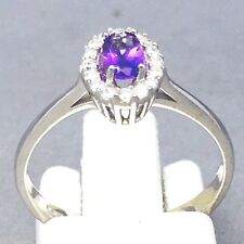 "925 STERLING SILVER ""GENUINE"" AMETHYST & CUBIC ZIRCON SIGNET RING  SIZE ""P""  650"