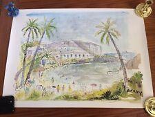 "Alfred Birdsey, Bermuda, Watercolor Signed Print 26 X 19"""