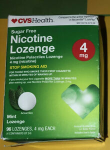 CVS NICOTINE SUGAR FREE LOZENGES ~4mg MINT~96 Lozenges~Exp. 1/21