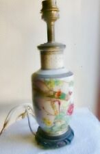 Vase Chinois monté en lampe en porcelaine Canton  OISEAU et FLEUR XIXème