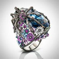 Turkish 925 Silver Enamel Flower Spider Sapphire Women Punk Ring Jewelry US 6-10