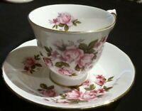 Vintage Queen Anne Teacup And Saucer Pink Roses with Gold Trim