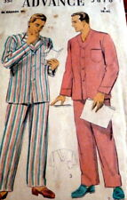 VTG 1950s MENS PAJAMAS ADVANCE Sewing Pattern MEDIUM CHEST 38-40