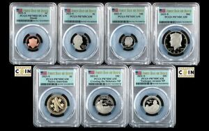 2021 US Mint Proof Set PCGS PR70 DCAM First Day of Issue Flag Label 7 Coin Set