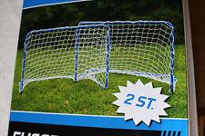 2 Fußballtore 78x56x45 Fußballtor Set Metall Kinder Garten Fußball Tor Netz Ball
