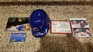 Kerry Wood Mark Prior Signed Chicago Cubs Mini Helmet Schwartz & MM COA