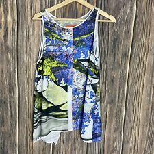 Clover Canyon Large Top Women's Sleeveless Slit Back Multicolor Floral Print