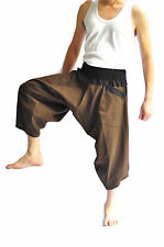 Thai fisherman pants, Yoga Harem pants cotton, Brown black, Thai pants, wide leg