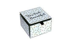 You Look Beautiful Jewelry Box Metallic Gold Accents Glass Black Velevet Inside