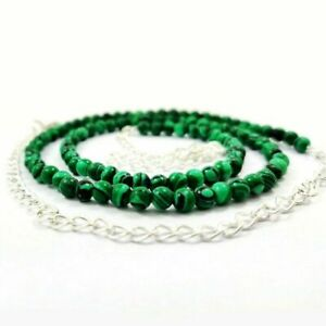 NATURAL GREEN MALACHITE GEMSTONE 4 MM ROUND BEADS SILVER PLATED NECKLACE JEWELRY