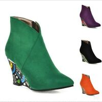 Womens High Wedge Heel Shoes Pointy toe Suede Casual Side Zip Ankle Boots Party