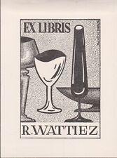 ex-libris R.Wattiez signé Paulette Baron (verres) cliché 1959. Belgique