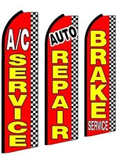 Ac Service Auto Brake  King Size  Swooper Flag Sign  W/Complete 3 Set