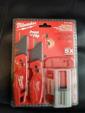 Milwaukee Folding Utility Knife Set 2 Pack Quick Blade With 50 Blades Included
