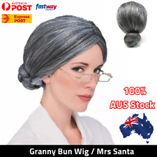 Granny Wig Old Lady Grey Silver Grandma Mrs Santa Wigs Cosplay Costume Party AU