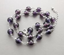 Pretty purple glass necklace .. round violet smooth bead silver tone jewellery