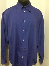 Gap Mens Solid Blue Cotton Shirt Long Sleeve Button Front Chest Pocket Size XL