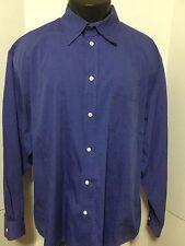 Gap Mens Shirt Size XL Solid Blue Cotton Long Sleeve Button Front Chest Pocket