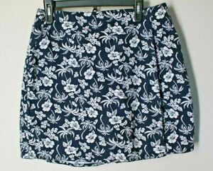 DRESS BARN 12 Floral Wrap Skirt Shorts Skort Black White Floral 100% Cotton Golf
