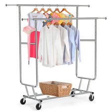 Commercial Garment Rolling Rack Double Rail Clothing Bar Retail Display Hanger