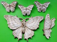 Vintage Mid Century 60s 70 Ceramic Butterfly Wall Hangings Art Gold Cream Funky