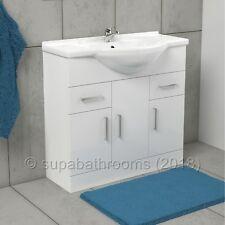850mm Bathroom Cloakroom Classic Gloss White Vanity Unit and Ceramic Basin