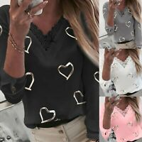 Women Heart Print V Neck Lace Patchwork Long Sleeve T-shirt Tops Blouse Pullover