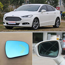 Rearview Mirror Blue Glasses LED Turn Signal with Power Heating For Ford Mondeo