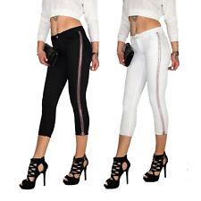 Damen High Waist Ankle 7/8 Capri 3/4 Röhren Jeans Hose Mit Seitenstreifen E118