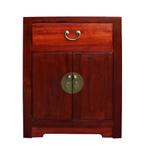 Chinese Oriental Brown Moon Face End Table Nightstand cs3122