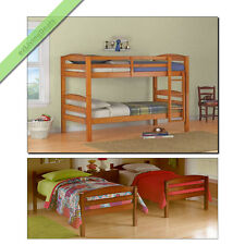 Twin Over Twin Bunk Beds for Girls Boys Kids Bunkbeds Convertible Wood Bed, Pine