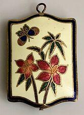 Vintage Puffy Cloisonne Enamel Pendant Brass Flowers Butterfly Cream