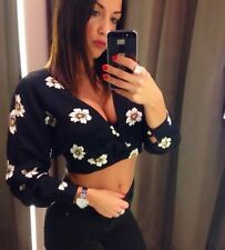 ZARA BLACK FLORAL PRINT CROPPED TOP WITH LOW BACK SIZE XS UK 6